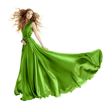 gown: Woman in beauty fashion green gown, long evening dress over isolated white background