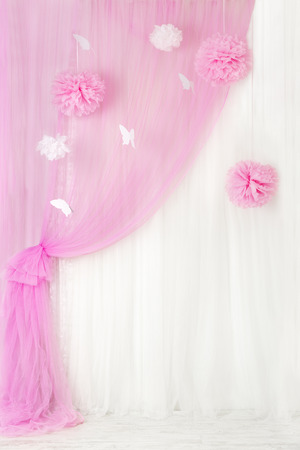 Curtains pink background, blank interior room for girl, window design.   photo