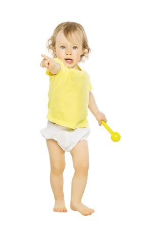 child finger: Child girl pointing finger hand forward. Kid isolated on white background
