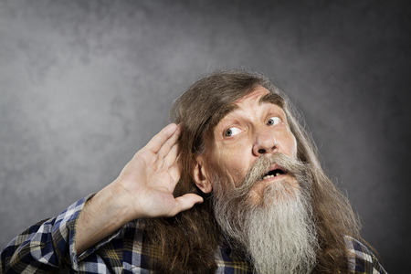 deafness: Senior man tries to listen sound  Elder haring loss deafness
