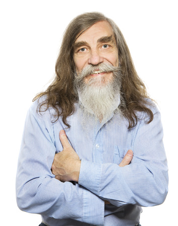 man with long hair: Senior happy smiling. Old man long gray hair beard, elder isolated white background Stock Photo