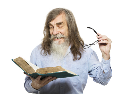 investigate: Senior reading book. Old man education, elder with beard isolated white background