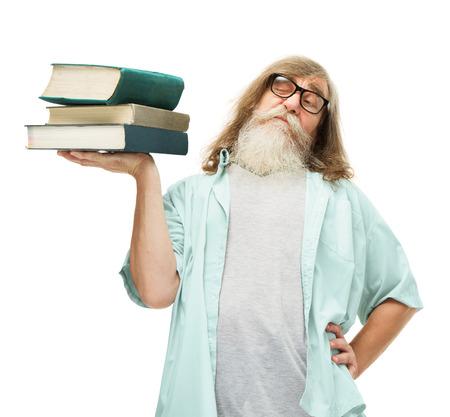 senior in glasses lifting books, old man knowledge education, elder student isolated white background photo