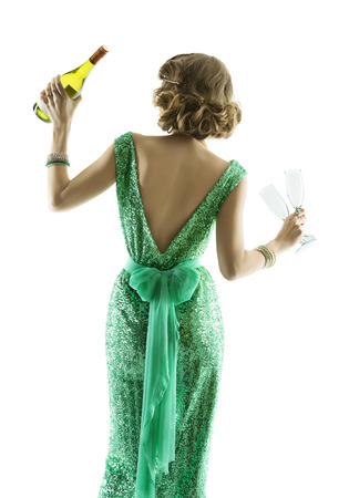 woman whit champagne wine glasses, elegant lady celebration party, luxury girl dancing in evening dresses, isolated on white background photo