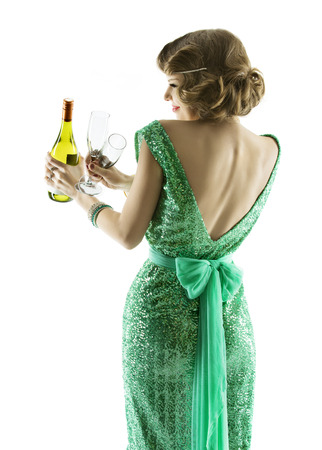 woman whit champagne wine glasses, elegant lady celebration party, sensual girl in evening retro dress, isolated on white background photo