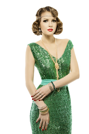 sequin: Woman retro fashion portrait in sparkle sequin dress, elegant vintage style girl, isolated on white background