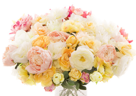 Flowers bouquet peony, pastel floral colors over white background photo
