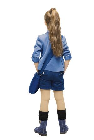 Schoolmeisje in uniform terug zijaanzicht meisje van de school achterkant, op zoek achter, geïsoleerde over witte achtergrond