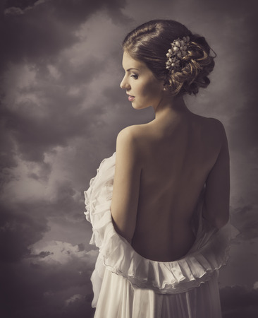 Woman sensual retro portrait, girl back, elegant artistic vintage style makeup