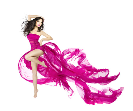 Woman dancing in fluttering dress, fashion model dancer with waving fabric, isolated white
