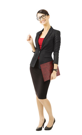 Business woman in glasses, isolated over white background, smiling teacher in suit, full length portrait photo