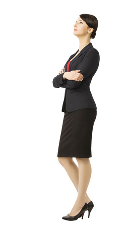 Business woman in suit, isolated over white background, full length portrait