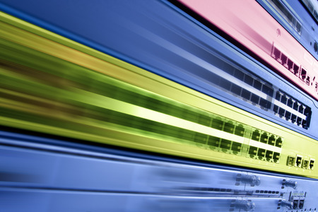 router: telecommunication internet equipment, fast router switch in motion, high speed data center