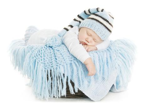 blue blanket: Baby Newborn Portrait, Boy Kid New Born Sleeping In Blue Hat, Child Isolated Over White Background Stock Photo