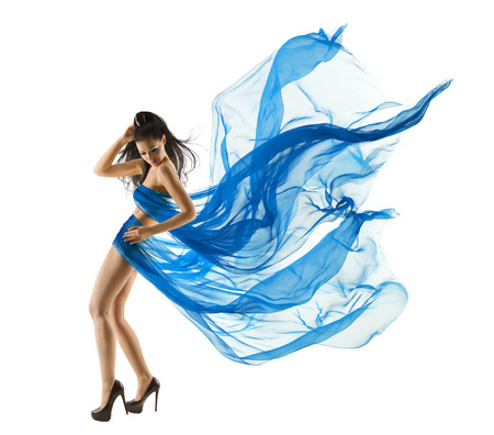 black hair: Woman Sexy Dancing in Blue Dress. Fashion Model dance with Waving fluttering Fabric. Long legs. White Isolated Background
