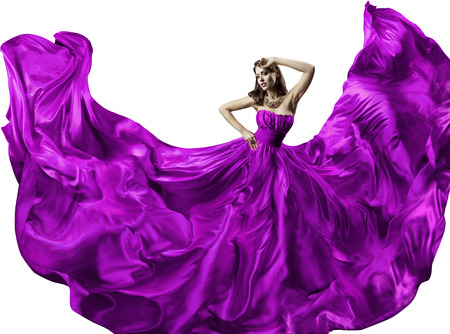 to dress: Woman Silk Dress, Beauty Fashion Portrait In Long Fluttering Gown, Girl Dancing With Purple Fabric Clothes, Isolated Over White Background