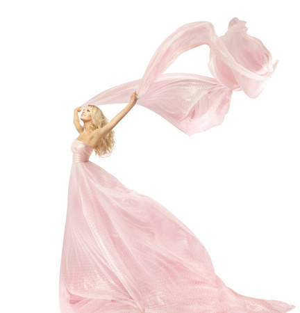 Woman Beauty Fashion Dress, Girl In Silk Gown Waving On Wind Fabric, Model With Long Flying Fluttering Cloth, Isolated Over White Background Stock Photo