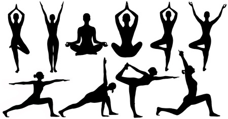 joga: Yoga Poses Woman Silhouette Isolated Over White Background, Set Of People Figures In Sport Gymnastics Training Exercise
