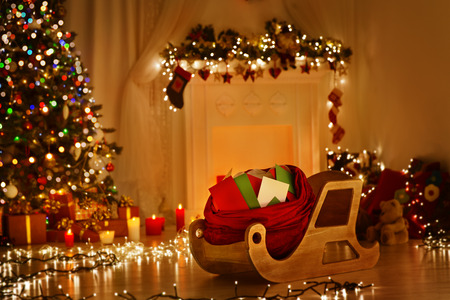 Christmas Sleigh With Bag, Sledge Sack Full Of Letters, Xmas Kids Mails, Wishes List Delivery To Santa Claus For Present Gifts Toys photo