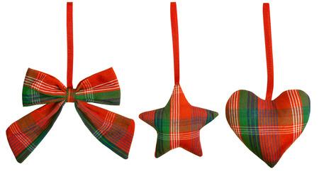 Christmas Decoration Hanging Toy, Isolated White Background, Vintage Handmade Decorative Heart Star Bow on Ribbon photo
