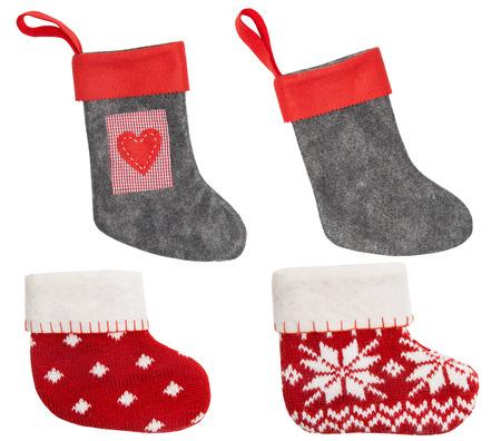 christmas sock: Christmas Stocking, Red Sock Hanging Isolated On White Background