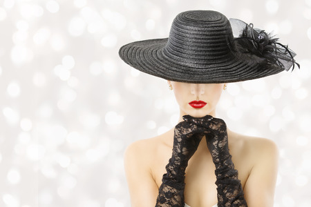 are hidden: Woman In Hat and Gloves, Fashion Model Beauty Portrait, Beautiful Girl Hidden Face, Red Lips