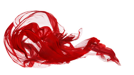 Red Cloth Isolated Over White Background, Fabric Freeze Motion, Abstract Waving Flying Silk Textile