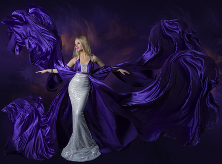 evening gown: Woman Beauty Dress Flying Purple Silk Cloth, Lady Creative Fashion Gown Flowing and Waving on Wind, Beautiful Girl Elegant Portrait