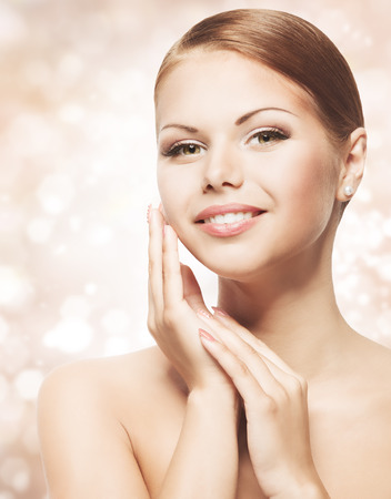 Woman Beauty Face with Natural Makeup, Clean Fresh Skin Care, Beautiful Young Girl Portrait, Skincare Concept Stock Photo