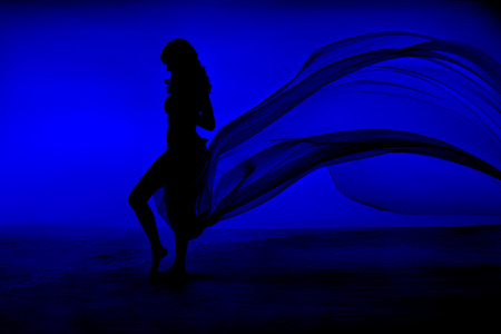 evening gown: Woman Beauty, Girl Silhouette with Blue Fluttering Dress, Cloth Flying and Waving on Wind