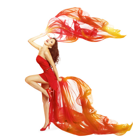 gown: Woman Dancing in Red Dress, Cloth Flying Waving on Wind, Dance Girl Isolated Over White Background