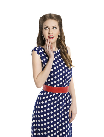 polka dot dress: Woman in Polka Dot Dress, Retro Girl Pin Up Hair Style, Beauty Make Up and Hairstyle, Isolated Over White Background