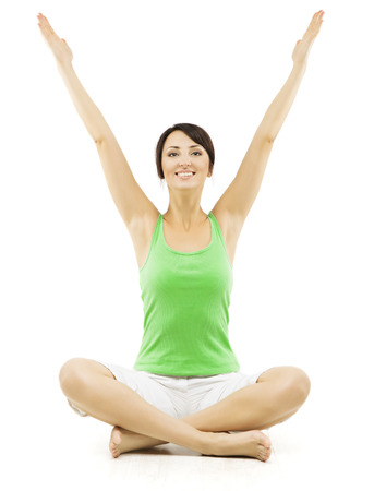 Yoga Woman, Happy Female Open Hands Raised Up, Sitting in Lotus Pose. Girl Advertise Sport Exercise, Isolated Over White Background photo