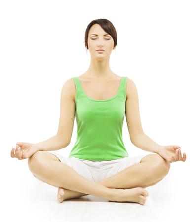 Yoga Woman in Meditation Sitting in Lotus Pose. Female Meditating Exercise Isolated Over White Background