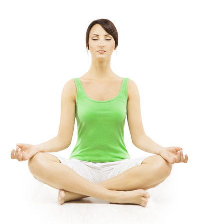 positions: Yoga Woman in Meditation Sitting in Lotus Pose. Female Meditating Exercise Isolated Over White Background