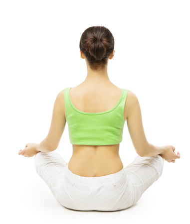 Yoga Back Side, Woman Meditating in Lotus Position. Female Rear View, Meditation Isolated Over White Background photo