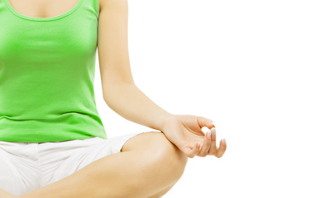 Yoga Hand, Woman Meditation Sitting in Lotus Pose, Isolated Over White Background photo
