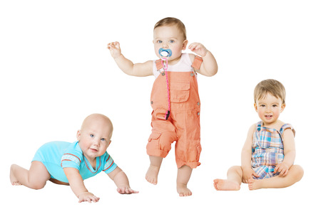 one family: Children Active Growth Portrait, Little Kids from 6 months to 1 year old, Baby Activity Crawling Sitting and Standing Boy Stock Photo
