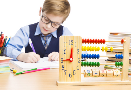 School Child Pupil Education, Clock Abacus, Students Boy in Glasses Counting Math Lesson, Kid Writing Exercise Book over White Background photo