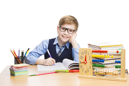 School Child Students Education, Pupil Boy in Glasses Learn Lesson, Kid with Book and Clock Isolated over White, looking at camera Stock Photo