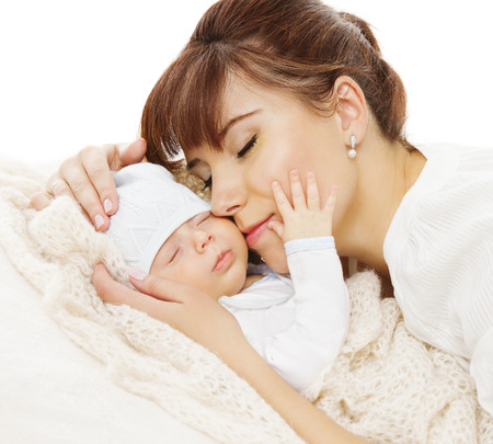 Mother Newborn Baby Family Portrait, Mom with New Born Kid, Parent and Child Love Concept