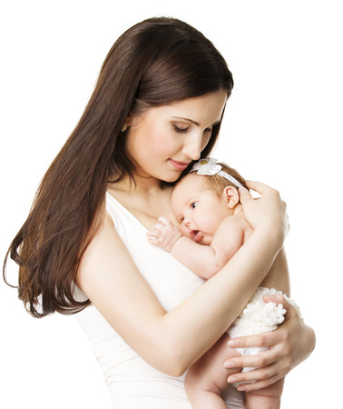 two girls hugging: Mother Newborn Baby Family Portrait, Mom Embracing New Born Kid, Parent and Child Love Concept, Isolated Over White Background