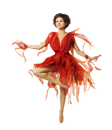 Woman Artist Dancing in Red Dress, Modern Ballet Dance, Tiptoe Dancer Girl Jumping Isolated Over White photo