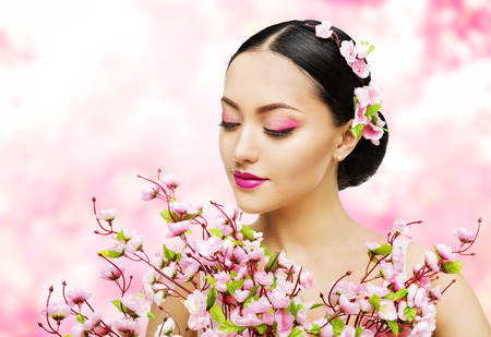 Woman Flowers Bunch Pink Sakura, Girl Makeup Beauty Portrait, Asian Model Fashion Face Make-up, Floral Background