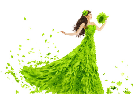 woman flying: Woman Green Leaves Dress Fantasy Creative Beauty Floral Gown Spring and Summer Fashion Season Concept over White Background Stock Photo