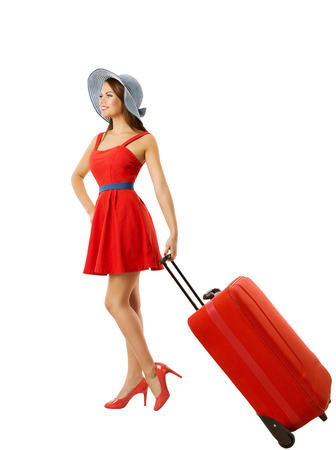 pulling beautiful: Woman Pulling Suitcase Baggage, Isolated over White, Young Girl in Hat Summer Dress Carry Luggage Stock Photo