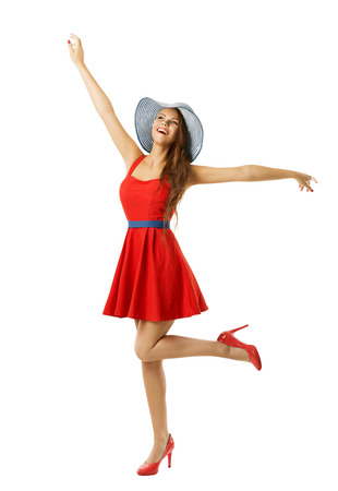 completo: Mujer en la playa Roja Sombrero elegante feliz Ir con los brazos abiertos, aislado m�s de blanco, Inspirado Modelo mira para arriba Foto de archivo