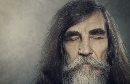 gray beard: Senior Old Man Eyes Closed Elderly People Portrait Aged Face close up