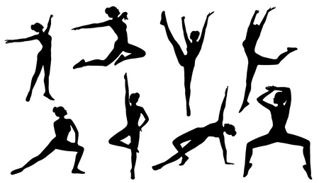 flexible woman: Silhouette Poses Woman Aerobics Fitness on White Background Set of People Figures Exercise Sport Gymnastics Training Stock Photo