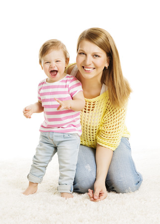 Mother and Baby Daughter Little Kid Family Portrait, Young Woman with Small Girl Child, Isolated over White Background